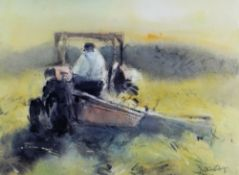 WILLIAM SELWYN limited edition (127/300) colour print - farmer on tractor signed fully in
