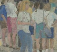 GORDON STUART oil on board - group of watching figures, entitled verso 'Spectators', dated 2011,