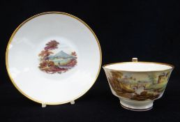 A SWANSEA PORCELAIN CUP & SAUCER of London shape, painted by George Beddow, the saucer with a