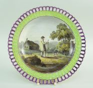 AN UNUSAL PAINTED SWANSEA WICKER BORDER PLATE circa 1820-1830 in typical lime green and purple