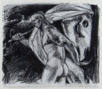 CLIVE HICKS-JENKINS pastel - figure with Mari Lwyd hobby-horse, 23 x 28cms Provenance: private
