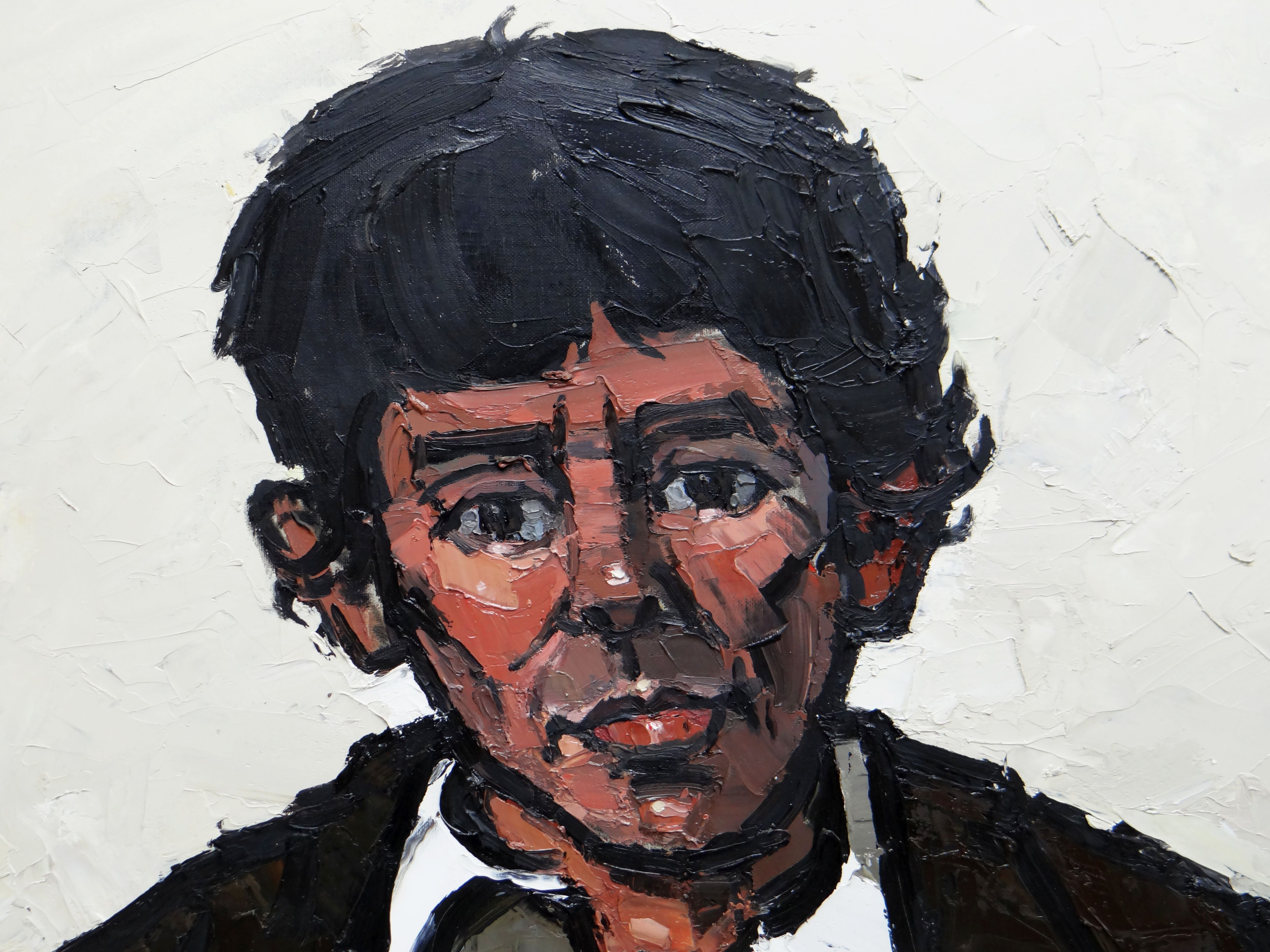 SIR KYFFIN WILLIAMS RA oil on canvas - head and shoulders portrait, entitled verso 'Willie', - Image 3 of 7