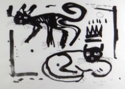 WILLIAM BROWN limited edition (15/17) monoprint - titled 'Un Chat Peut Regarder un Roi' (A Cat can