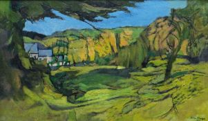 JOHN ELWYN oil on canvas - disused quarry in landscape, signed and dated 1979 lower right and verso,