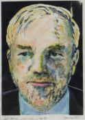 JACK JONES mixed media - title to margin 'Self-Portrait, Aged 55', signed and dated March 1991, 24 x