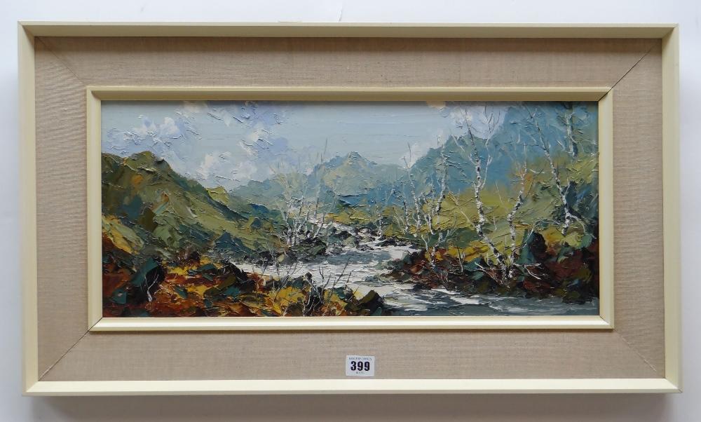 CHARLES WYATT WARREN oil on board - entitled verso 'The Glaslyn Near Nant Gwynant', signed, 24 x - Image 2 of 2