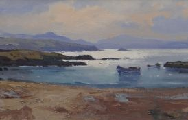 GARETH THOMAS oil on canvas - entitled verso 'Looking towards Snowdon from Anglesey', signed, 39 x