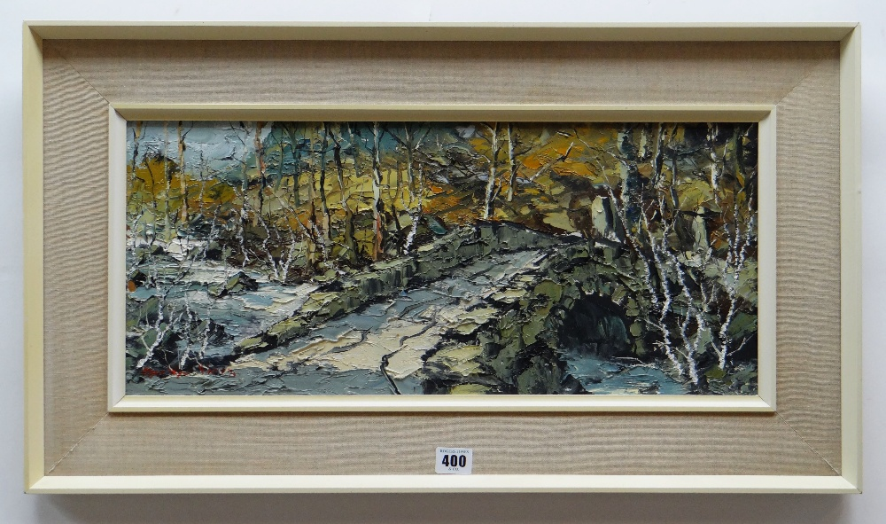 CHARLES WYATT WARREN oil on board - stone single arched bridge over mountain stream with woodland, - Image 2 of 2