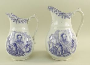 A PAIR OF LLANELLY POTTERY PURPLE TRANSFER COMMEMORATIVE JUGS with sides printed pictorial