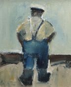 WILL ROBERTS oil on board - standing figure, entitled verso 'The Boatman', signed verso with