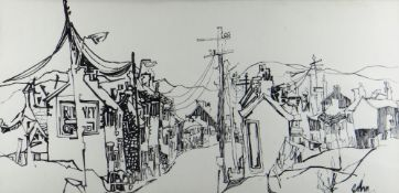 JOHN UZZELL EDWARDS pen and ink drawing - south Wales valley street scene, entitled verso 'Deri',