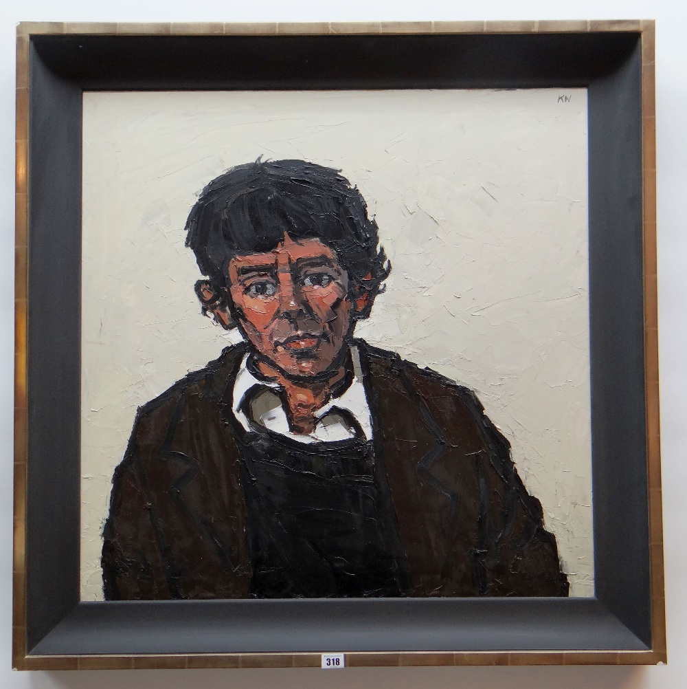 SIR KYFFIN WILLIAMS RA oil on canvas - head and shoulders portrait, entitled verso 'Willie', - Image 2 of 7
