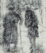 GORDON STUART crayon on paper - two ladies in conversation, signed, 25 x 22cms Provenance: estate of