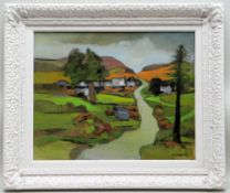 JOHN ELWYN oil on canvas - landscape with lane, trees and buildings, signed and dated 1993, 40 x