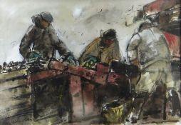 WILLIAM SELWYN watercolour - three potato pickers, Oriel Tegrfyn Gallery label verso, signed, 36 x