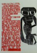 PAUL PETER PIECH two colour linocut poster - 'Man in Calcutta' (after Yannis Ritsos) a poem by