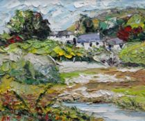 ALAN KNIGHT thick impasto oil on canvas - colourful Ynys Mon landscape with farm and building,