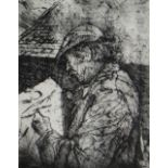 DAVID CARPANINI limited edition (5/50) etching - portrait of Sir Kyffin Williams in flat-cap and