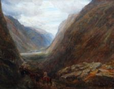 CHARLES THOMAS BURT oil on canvas - dramatic Welsh landscape with drovers on horse and foot moving