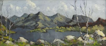 CHARLES WYATT WARREN oil on board - lake with mountains in background, entitled verso 'Snowdon