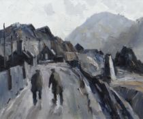 GARETH PARRY oil on canvas - north Wales (Bethesda possibly) street scene with two gentleman