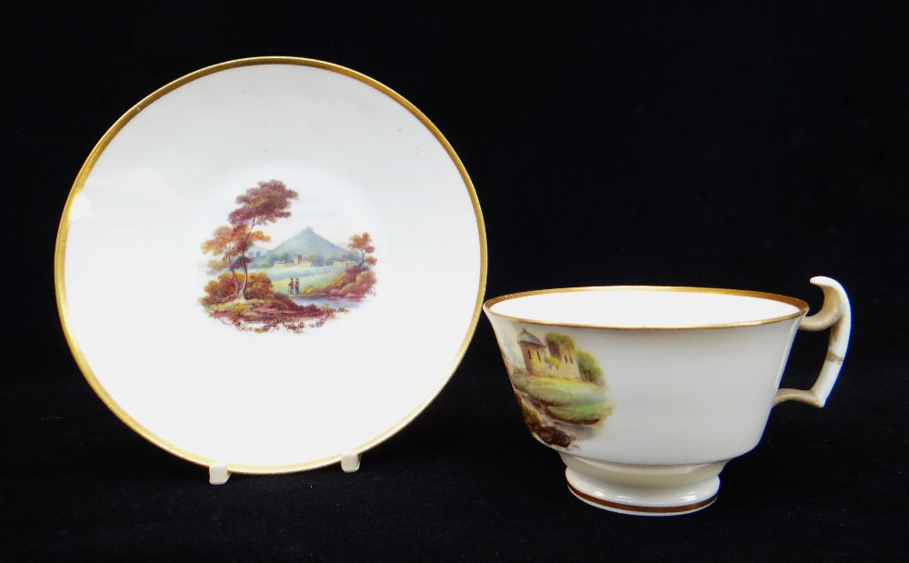 A SWANSEA PORCELAIN CUP & SAUCER of London shape, painted by George Beddow, the saucer with a - Image 2 of 2