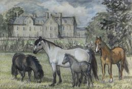 CHARLES FREDERICK TUNNICLIFFE OBE RA preliminary drawing in mixed media - ponies in a garden of a