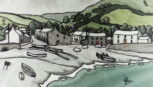 ALAN WILLIAMS acrylic - harbour scene with fisherman and boats, entitled verso 'Little Haven,