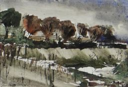 JOHN KNAPP-FISHER watercolour - landscape with trees, signed, 11.5 x 16cms Provenance: private