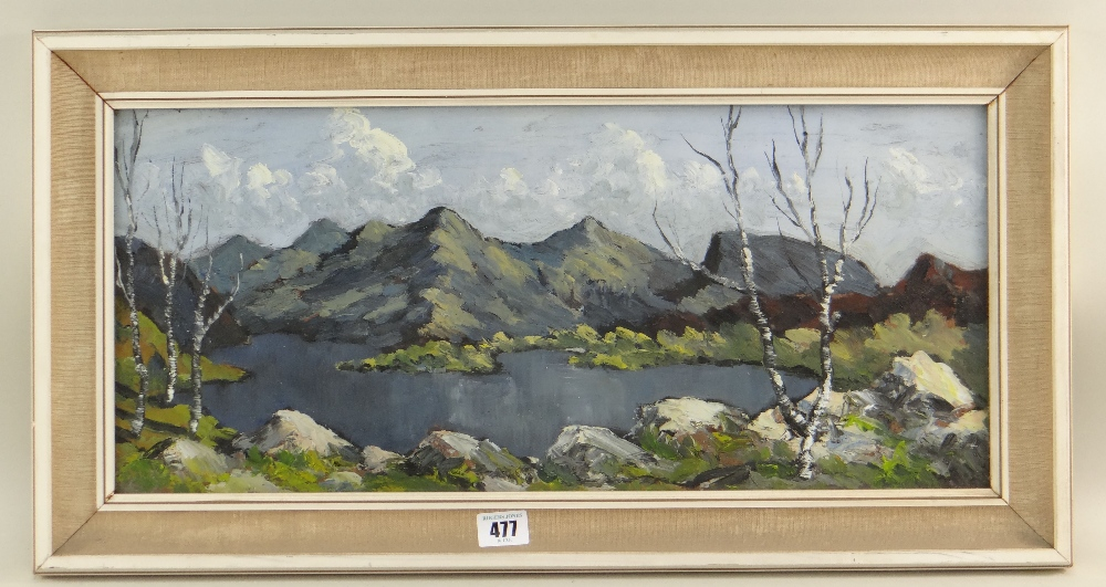 CHARLES WYATT WARREN oil on board - lake with mountains in background, entitled verso 'Snowdon - Image 2 of 2
