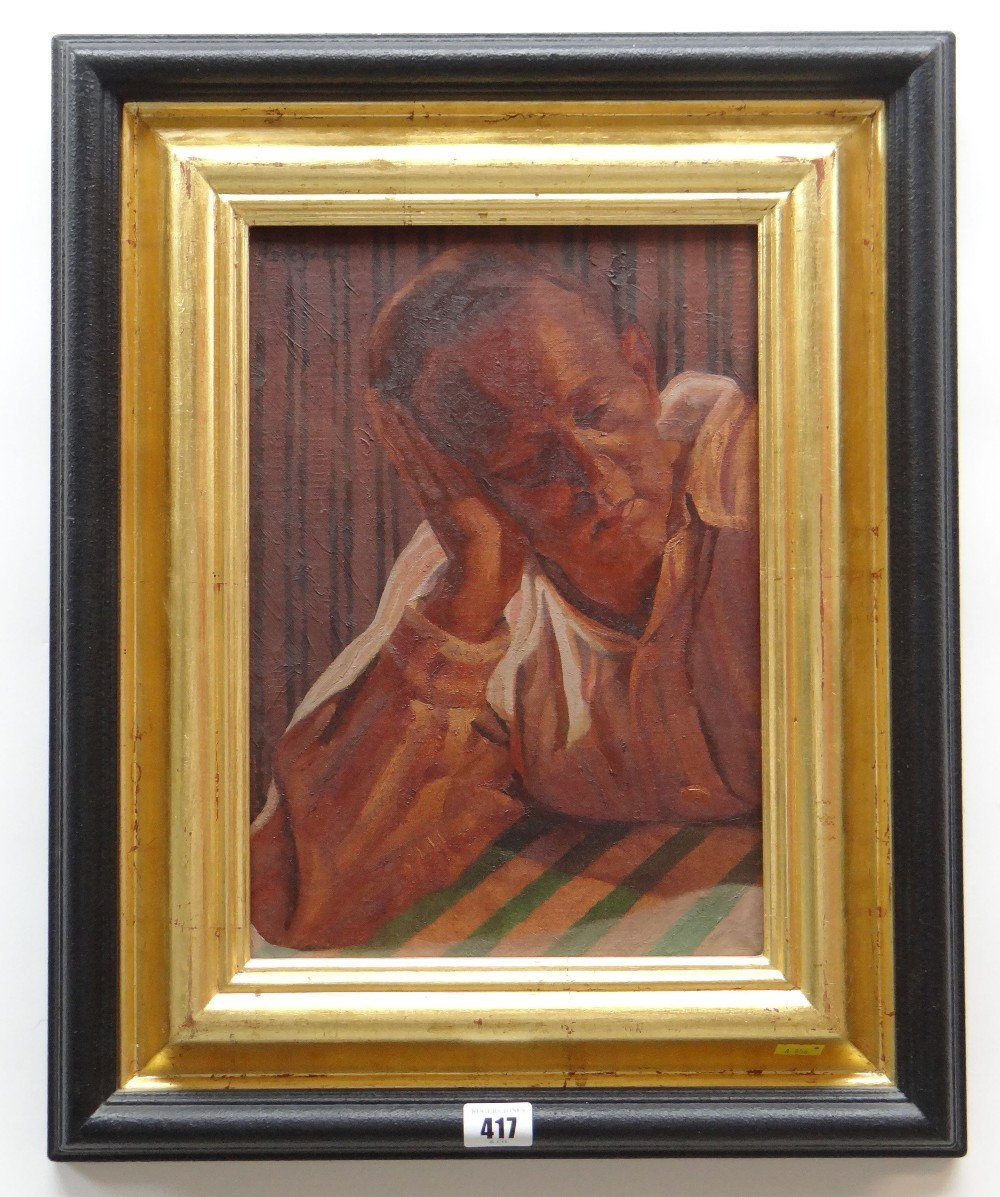 ED POVEY oil on canvas - entitled label verso 'Permanence', signed and dated 2002, 33.5 x 23.5cms - Image 2 of 2