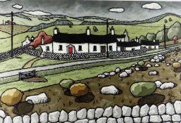 ALAN WILLIAMS acrylic - row of whitewashed cottages, entitled verso 'Farm Aberystwyth', signed, 34 x