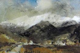 WILLIAM SELWYN mixed media - Eryri winter landscape, entitled verso 'Drws y Coed', signed, 13 x