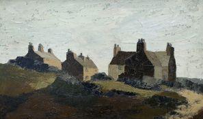 GWYN BROWN oil on board - entitled verso 'Cottages, Amlwch', signed, circa 1970s, 48 x 80cms