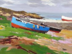 DONALD MCINTYRE acrylic - fishing boats on the shore, entitled verso on artist's handwritten