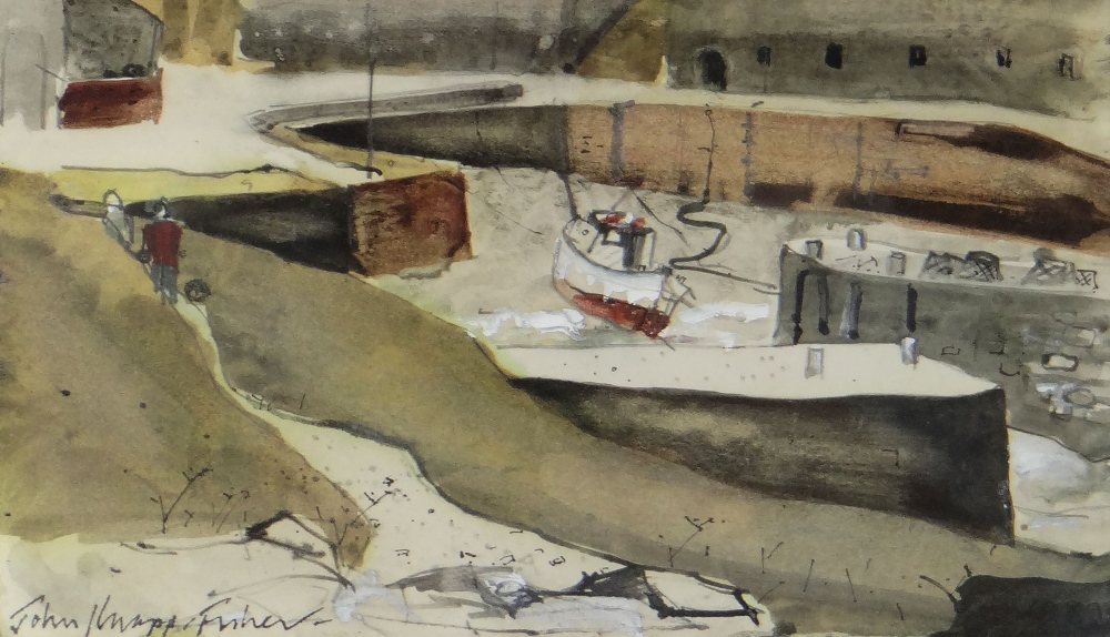 JOHN KNAPP-FISHER mixed media - figures and boats in harbour, entitled verso on Attic Gallery