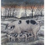 SEREN BELL mixed media - entitled verso 'Gloucester Old Spot with Piglets', signed, 47 x 46cms