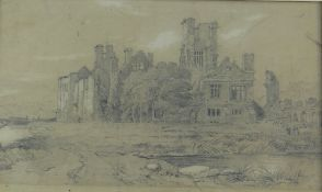 ATTRIBUTED TO WILLIAM WESTON YOUNG pencil on brown paper, laid down - view of the ruins of Neath