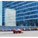 PHIL NICOL oil on board - urban view with parked cars and light reflection on office block, 16 x