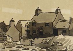 SIR KYFFIN WILLIAMS RA early inkwash - cottages at Gorslwyd, Llanddona, signed with initials, 20 x