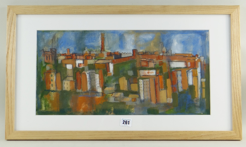 GWILYM PRICHARD gouache on paper - entitled verso 'San Gimignano, Tuscany' and dated 1963, signed, - Image 2 of 2