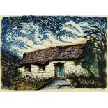 JOHN PETTS monoprint - Welsh cottage, signed in pencil and dated 1959, 29 x 41cms Provenance: