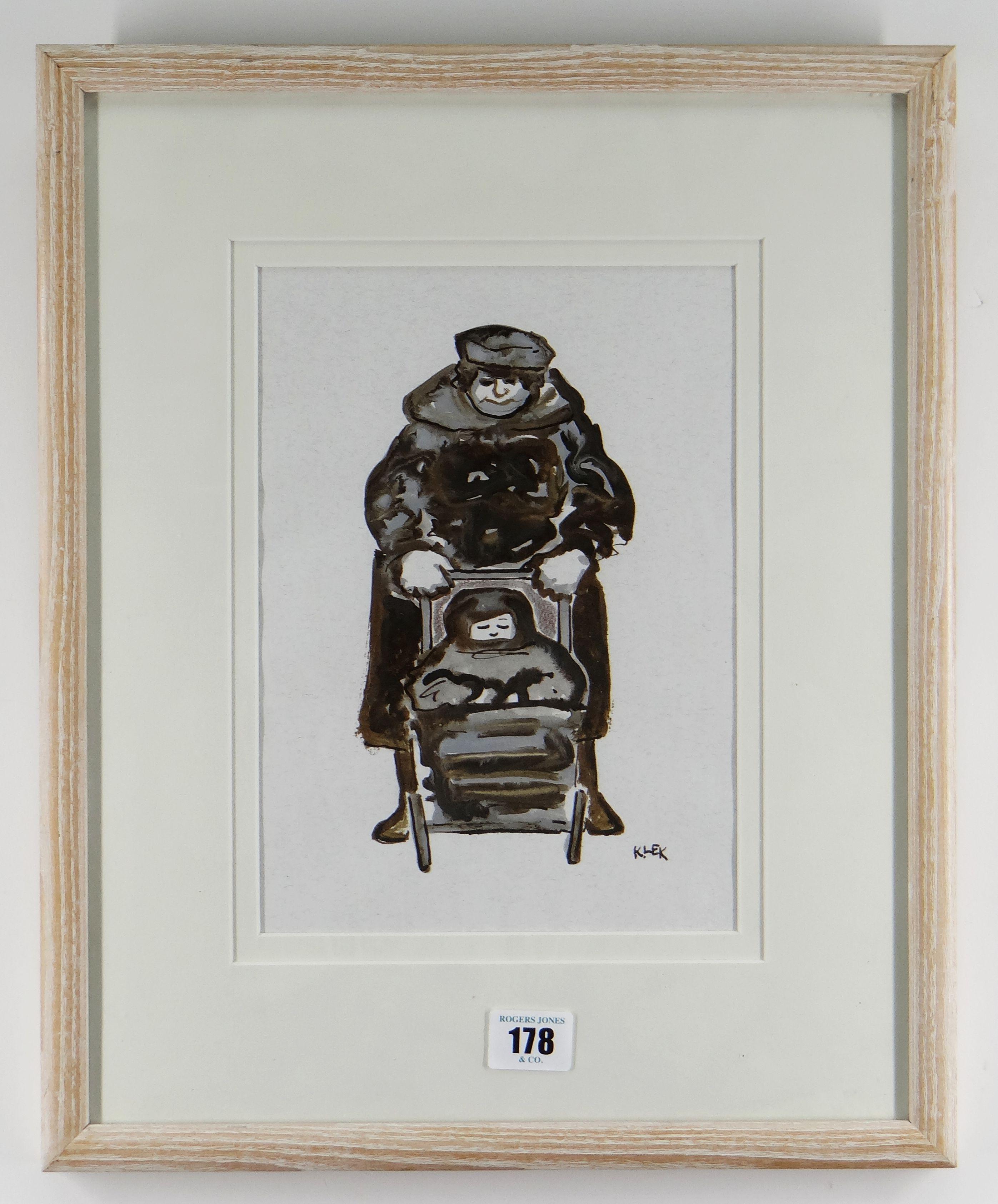KAREL LEK mixed media - lady pushing child in a pram, entitled verso 'Buggy', signed, 24 x 17cms - Image 2 of 2
