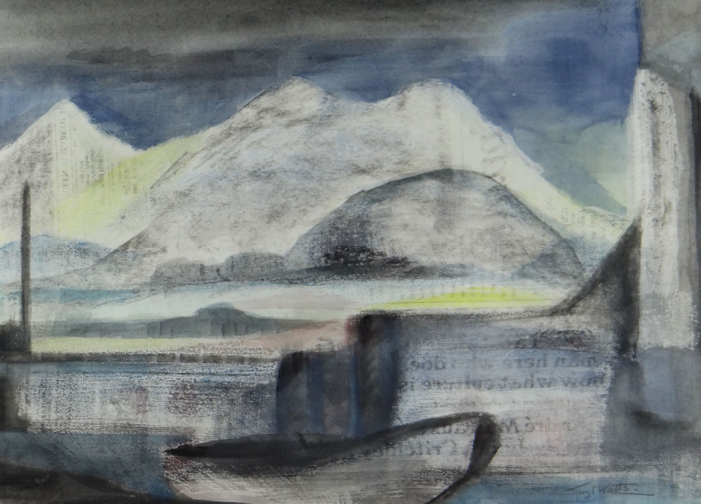 MERYL WATTS mixed media on newspaper - entitled verso 'North Wales Harbour View', together with