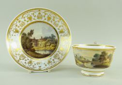 A SWANSEA PORCELAIN BREAKFAST CUP & SAUCER the cup of London shape with ogee handle, the cup painted