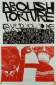 PAUL PETER PIECH two colour linocut poster - 'Abolish Torture', signed and dated 1987, 76 x 50cms