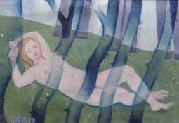 EVAN WALTERS oil on canvas - reclining female nude in woodland, 37 x 52cms Provenance: private
