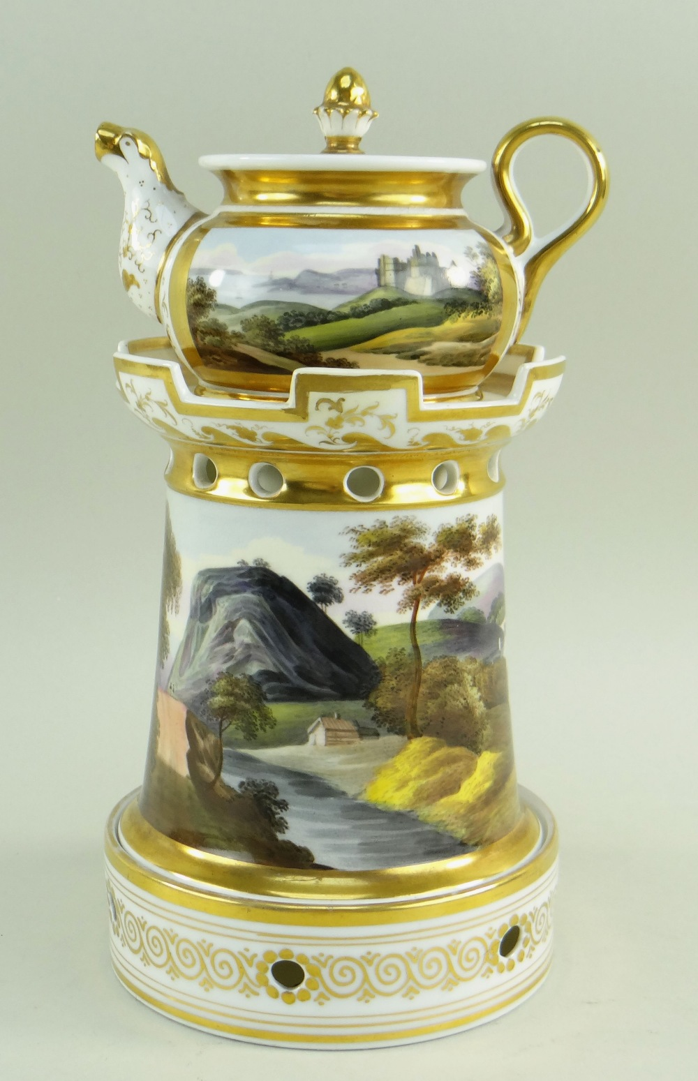 A WELSH LANDSCAPE ENGLISH PORCELAIN VEILLEUSE (tea-pot and warming stand) comprising miniature - Image 3 of 5