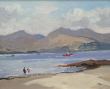 GARETH THOMAS oil on board - view across estuary with standing figures and boat, signed, 24.5 x