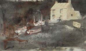 JOHN KNAPP-FISHER mixed media - house and fishing boats, signed and dated 1994, 14 x 22cms